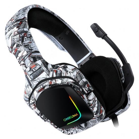 سماعة العاب أونيكوما K20  اللون مموه 3.5 مللي- فوق الأذن متوافقه مع الكمبيوتر المحمول وبلايستيشن 4 والموبايل