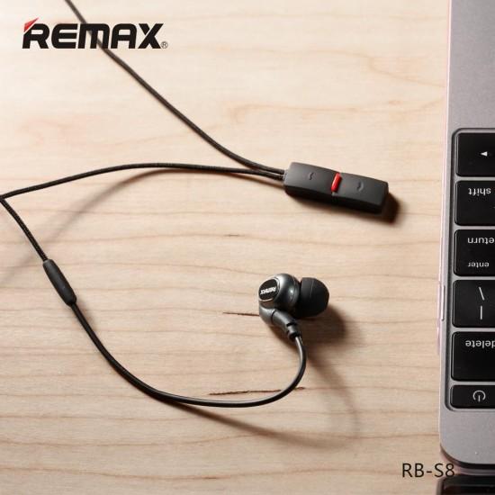 سماعه بلوتوث ريماكس RB-S8 - أسود - سماعة أذن للرقبة الرياضة سماعة أذن بلوتوث - مواصفات بلوتووث 4.1 EDR - نطاق الترددات اللاسلكية 10M - حساب محادثة الزمن حوالي  8 ساعات